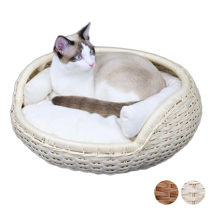 ころんとしたフォルムがかわいい上品なラタン製のボウルベッド N4-style 超特価SALE開催 ラタンボウルベッド 猫用 ベッド ※アウトレット品 ペットベッド ブラウン ラタン 可愛い シンプル 上品 ナチュラル