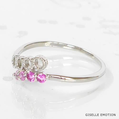 ピンキーリング 0号~6号 『ピンクサファイアK10ピンキーリング』ピンクサファイア|華奢|重ね付け|ファランジリング|プレゼント|おしゃれ|指輪|結婚記念日|誕生日|プレゼント|妻|彼女