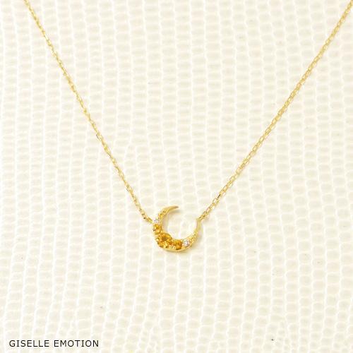 【半額!スーパーセール】【送料無料】11月誕生石ネックレスK10 『シトリン ダイヤモンド ムーンモチーフネックレス』大人可愛い月モチーフ|