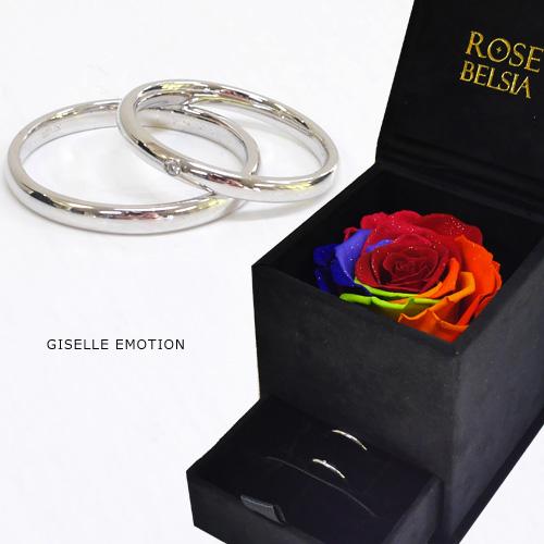 『天然ダイヤモンドローズ×ステンレス ダイヤモンドペアリング』 シンプルデザイン/マリッジリング|アレルギーにも安心|シンプル/シルバー/クリスマス|ジュエリー|おしゃれ|プリザーブドフラワー|花|薔薇|バラ|レディース|ギフト|彼女|誕生日プレゼント|妻|女性|結婚記念日