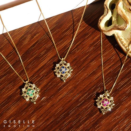 【送料無料】『ルビー エメラルド サファイア ダイヤモンド0.07カラット 18金ネックレス』 ネックレス|レディース|K18|