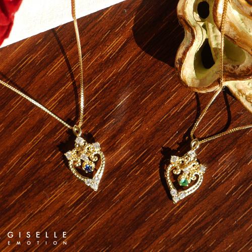 【半額!スーパーセール】【送料無料】『エメラルド サファイア ダイヤモンド0.07カラット 18金ネックレス』 ネックレス|レディース|K18|