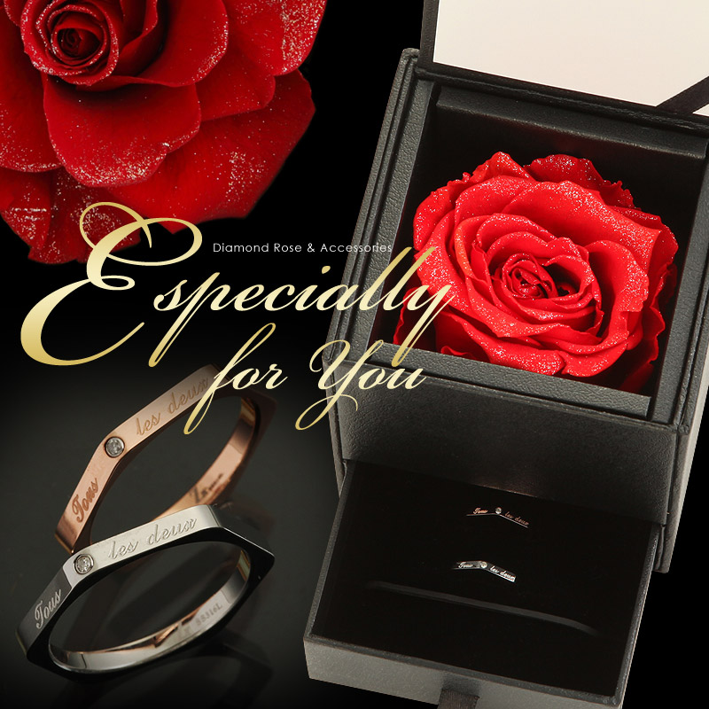 Zanipolo Terzini『天然ダイヤモンドローズ×メッセージ ペアリング』 2本セット|ジュエリー|おしゃれ|プリザーブドフラワー|花|薔薇|バラ|ペア|ギフト|彼女|誕生日プレゼント|主人|女性|男性/結婚記念日【LDFA_DL】
