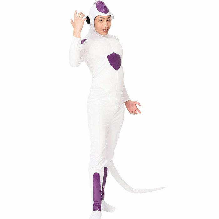 なり研 悪のエイリアン メンズ/レディース コスプレ なりきり 女性 男性 ユニセックス キャラクター風 全身タイツ ホワイト しっぽ付き おもしろ 大人 コスチューム ハロウィン 衣装 仮装 変装 イベント パーティー かわいい