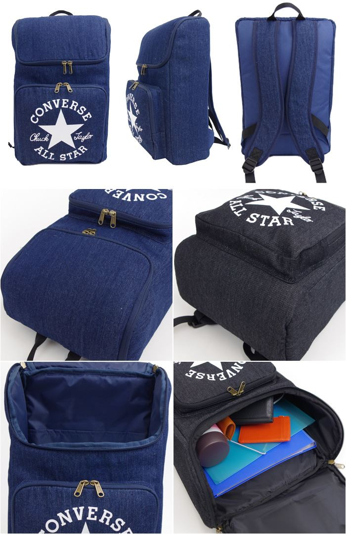 b6efc0ba2854 Converse bag rucksack DENIM BOX PACK Lady s   men black   navy 14L 14477000  CONVERSE ALLSTAR square logo rucksack backpack day pack denim stylish  commuting ...