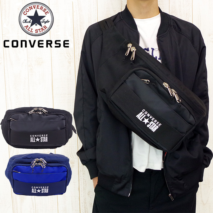 0482b086f1 It is a trainer at CONVERSE Converse bag big waist porch body bag big Gore  men   Lady s black   navy   red 75-88 all-stars subbag one shoulder bag  bias in ...