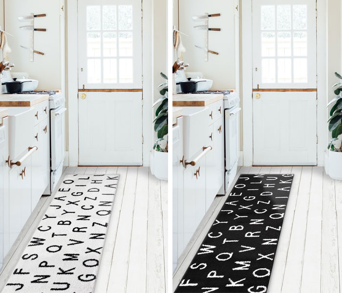 Is It Kitchen Mat 180 Fashion Mat Interior Mat Sor Torr Alphabet White Gray Black 45x180cm Carpet Interior Monotone Kitchen Mat Rectangular