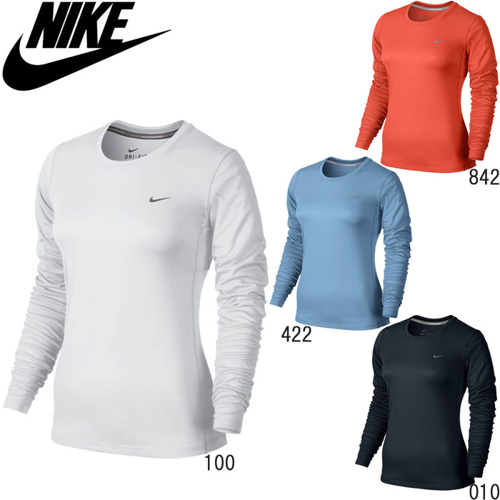 3d33cd6f60880 Philatelic correspondence clothing women's Nike nike T shirt long sleeves  white DRI-FIT dry fit ...
