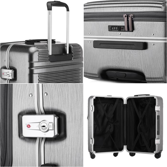 419c133f7b9b SUNCO  Sanko carry case front open medium size light weight medium size  world star W 60cm 60L 3-4 night 4.9 kg suitcase carrier bag black   silver  frame ...