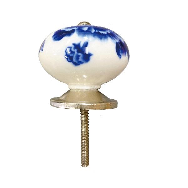 当店限定販売 国内送料無料 職人手作り 陶器ツマミ 長ネジ付 全長65.4mm 青い花ツマミ 一品限り