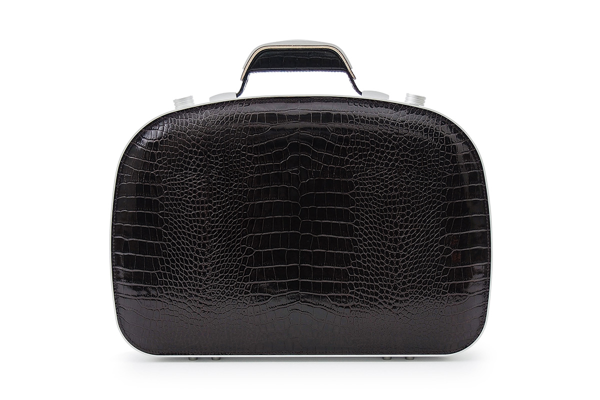 BLAUDESIGN ブラウデザイン ブリーフケース クロコダイルブラウン レザー 茶色 本革 メンズ ビジネスバッグ 通勤 アルミフレーム