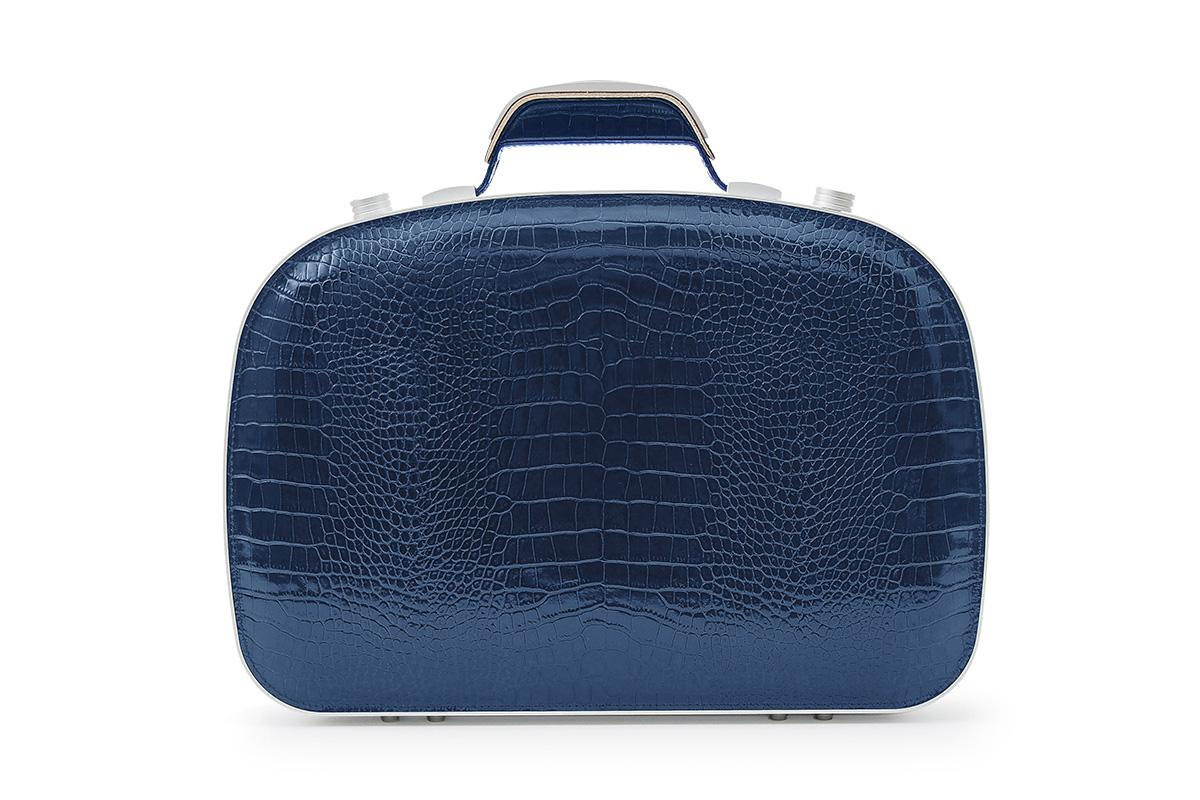 BLAUDESIGN ブラウデザイン ブリーフケース クロコダイルネイビー レザー 紺 本革 メンズ ビジネスバッグ 通勤 アルミフレーム