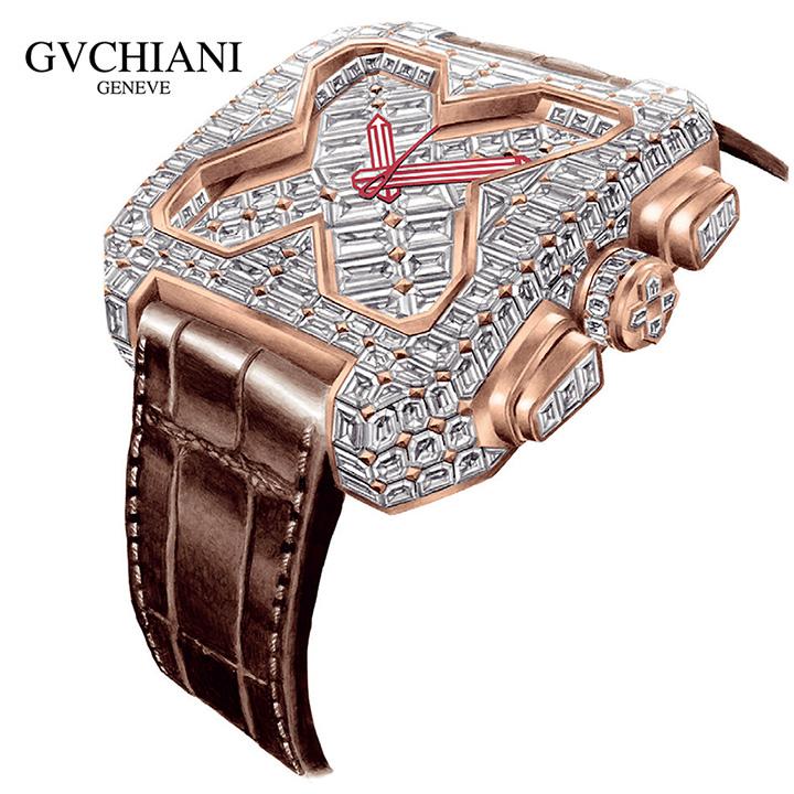 GVCHIANI(ブチアーニ)BIG SQUARE ROSE GOLD FULL DIAMOND TOURBILLON ビッグスクエア 18Kローズゴールド フルダイヤモンド 25カラット トゥールビヨン スイス高級腕時計
