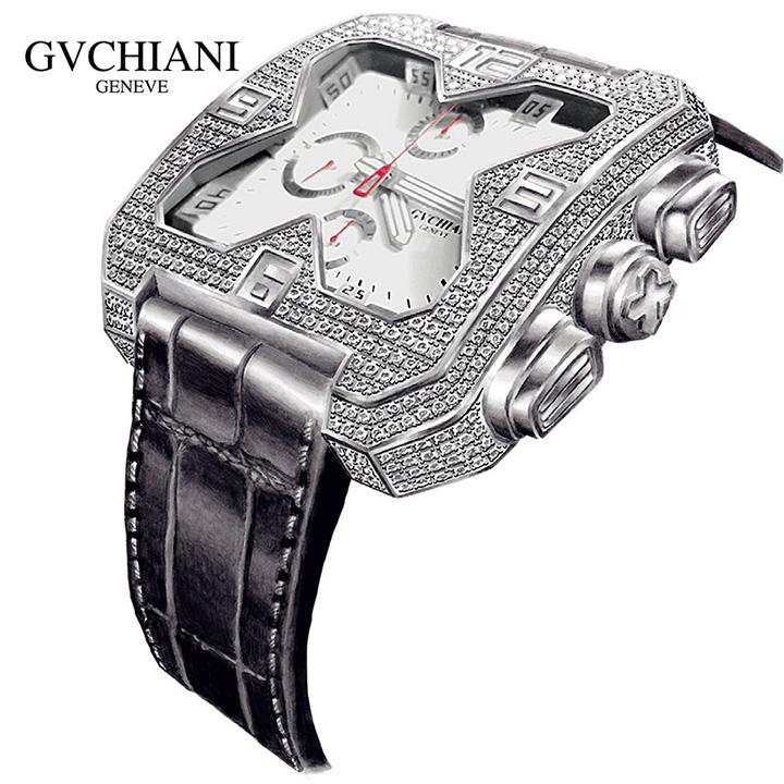 GVCHIANI(ブチアーニ)BIG SQUARE WHITE GOLD DIAMOND ビッグスクエア 18Kホワイトゴールド ダイヤモンド 11.5カラット スイス高級腕時計 メンズ機械式腕時計