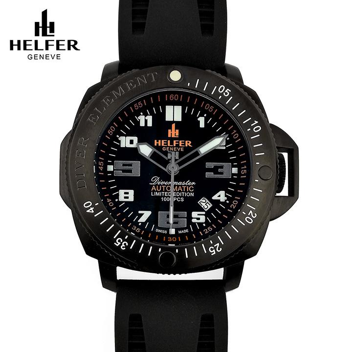 HELFER(ヘルファー)DIVER ELEMENT DIVERMASTER BLACK オールブラック 500M防水 ダイバーズウオッチ スイス機械式時計 メンズ腕時計 交換用レザーストラップ付き