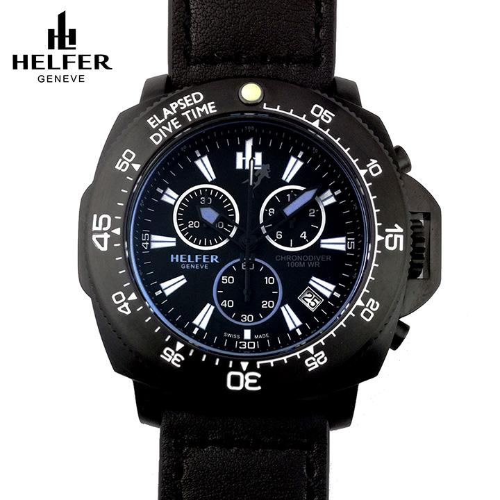 HELFER(ヘルファー)DIVER ELEMENT CHRONODIVER CLASSIC オールブラック スイスメイド クロノグラフ ダイバーズウォッチ ビッグフェイス メンズ腕時計 デカ厚時計 交換用レザーストラップ付き