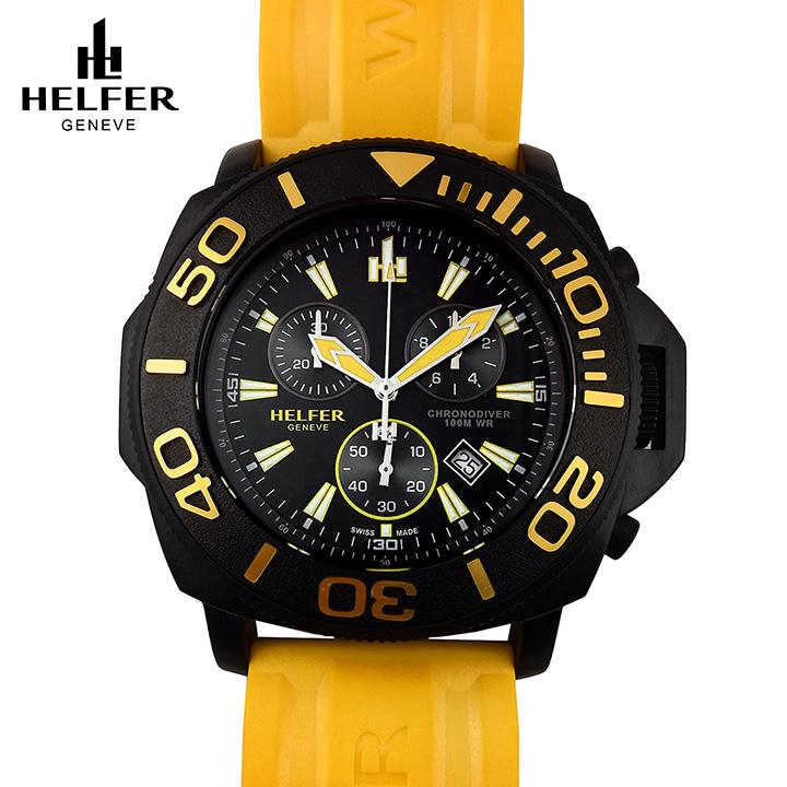 HELFER(ヘルファー)DIVER ELEMENT CHRONODIVER PWR ブブラック/ブラック/イエロー スイスメイド クロノグラフ ダイバーズウォッチ ビッグフェイス メンズ腕時計 デカ厚時計 交換用レザーストラップ付き