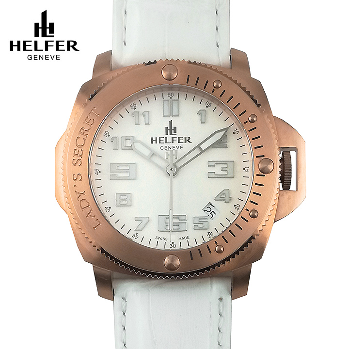 [ポイント10倍] HELFER(ヘルファー)LADY'S SECRET  ローズゴールド/パールホワイト/ホワイト スイス ビッグフェイス レディース腕時計