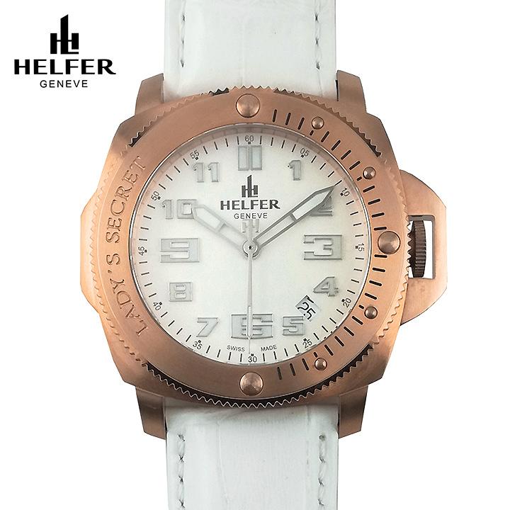 HELFER(ヘルファー)LADY'S SECRET ローズゴールド/パールホワイト/ホワイト スイス時計 ビッグフェイス レディース腕時計