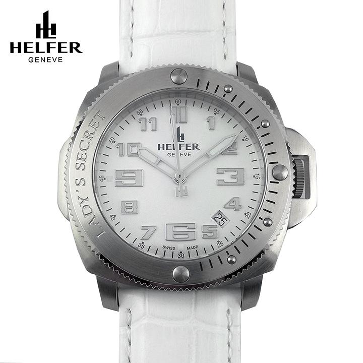 HELFER(ヘルファー)LADY'S SECRET スティール/パールホワイト/ホワイト スイス時計 ビッグフェイス レディース腕時計