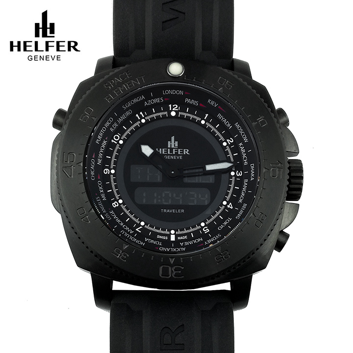 HELFER(ヘルファー)SPACE ELEMENT GLOBE TRAVELER オールブラック ワールドタイム カレンダー デジアナ ビッグフェイス メンズ腕時計 ダイバーズウォッチ スイスメイド 交換用レザーストラップ付き