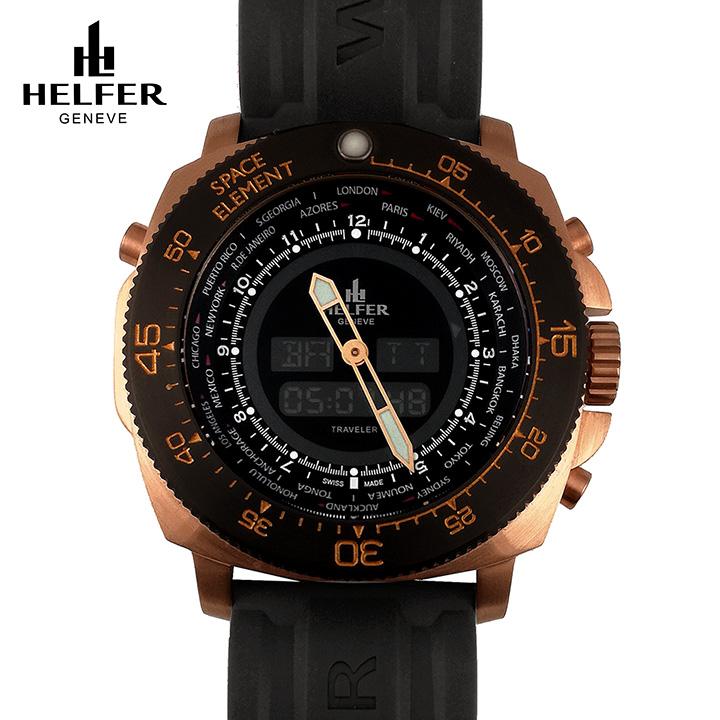 HELFER(ヘルファー)SPACE ELEMENT GLOBE TRAVELER ローズゴールド/ブラック/ブラック ワールドタイム カレンダー デジアナ ビッグフェイス メンズ腕時計 ダイバーズウォッチ スイス製 交換用レザーストラップ付き