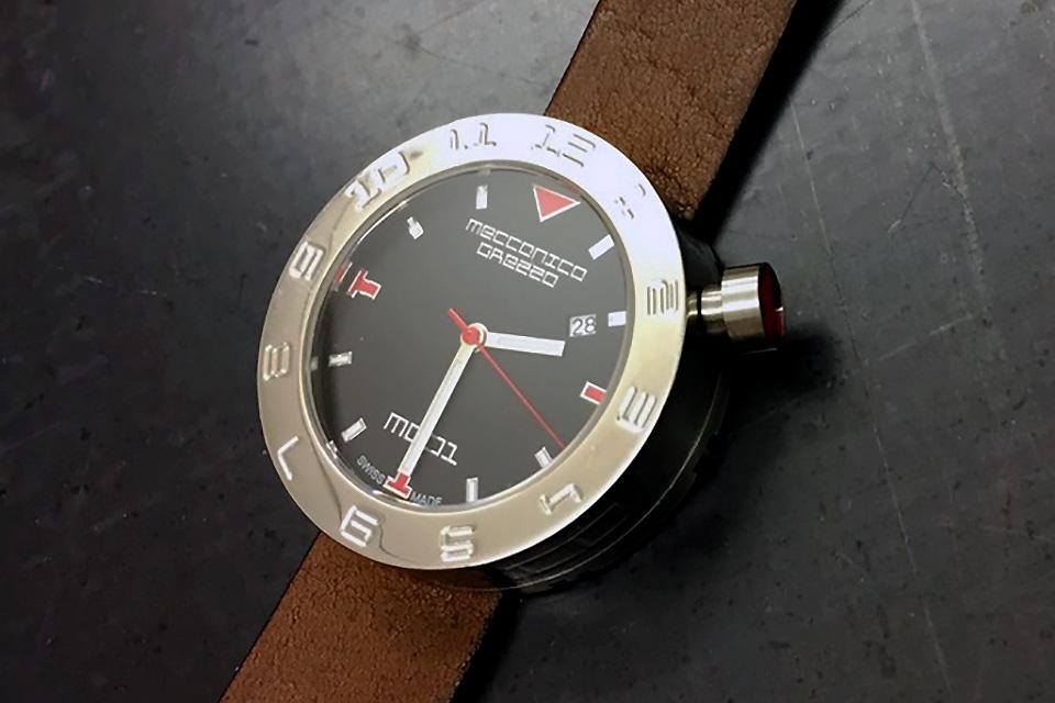 MECCANICA GREZZA(メカニカ・グレッザ) MG01 38L BK-DB スティール/ブラック/ダークブラウン イタリアンデザインウォッチ メンズ・レディース腕時計