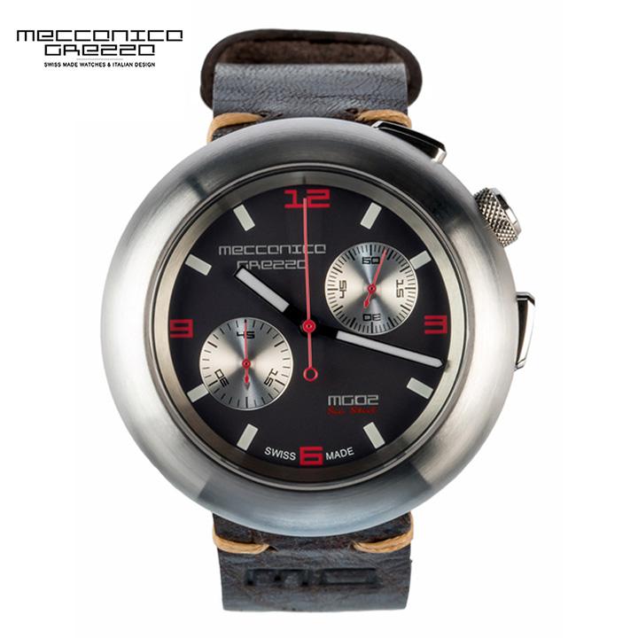 MECCANICA GREZZA(メカニカ・グレッザ)MG02 Sea Steel CRONO スティール/ブラック/ダークブラウン クロノグラフ イタリアンデザインウォッチ メンズ機械式腕時計