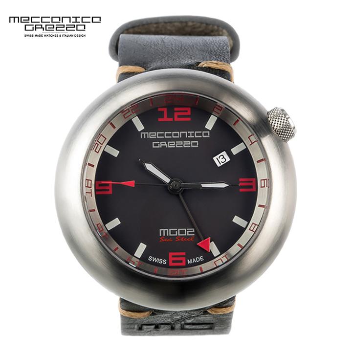 MECCANICA GREZZA(メカニカ・グレッザ)MG02 Sea Steel GMT スティール/ブラック/ダークブラウン デュアルタイム イタリアンデザインウォッチ メンズ機械式腕時計