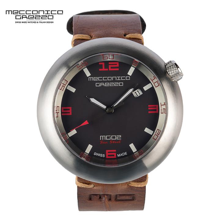 MECCANICA GREZZA(メカニカ・グレッザ)MG02 Sea Steel ST スティール/ブラック/ブラウン 3針モデル イタリアンデザインウォッチ メンズ機械式腕時計