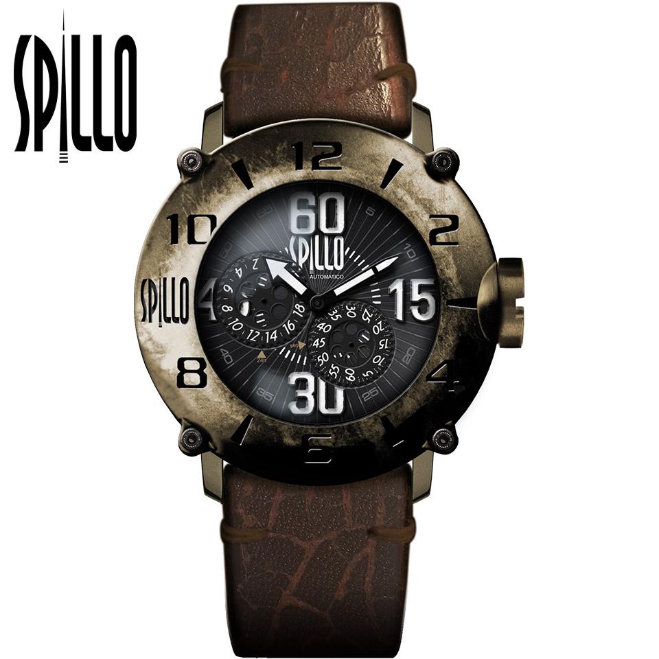 SPILLO(スピーロ)OUTLAW OL917KB-13BROWN ブロンズ/ブラウン イタリアンレザー メンズ機械式腕時計