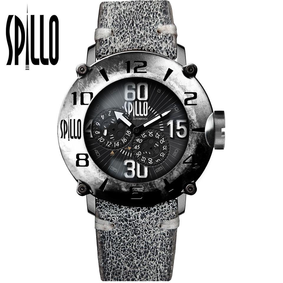 SPILLO(スピーロ)OUTLAW OL917KS-06GRAY スティール ホワイトインデックス イタリアンレザー メンズ機械式腕時計