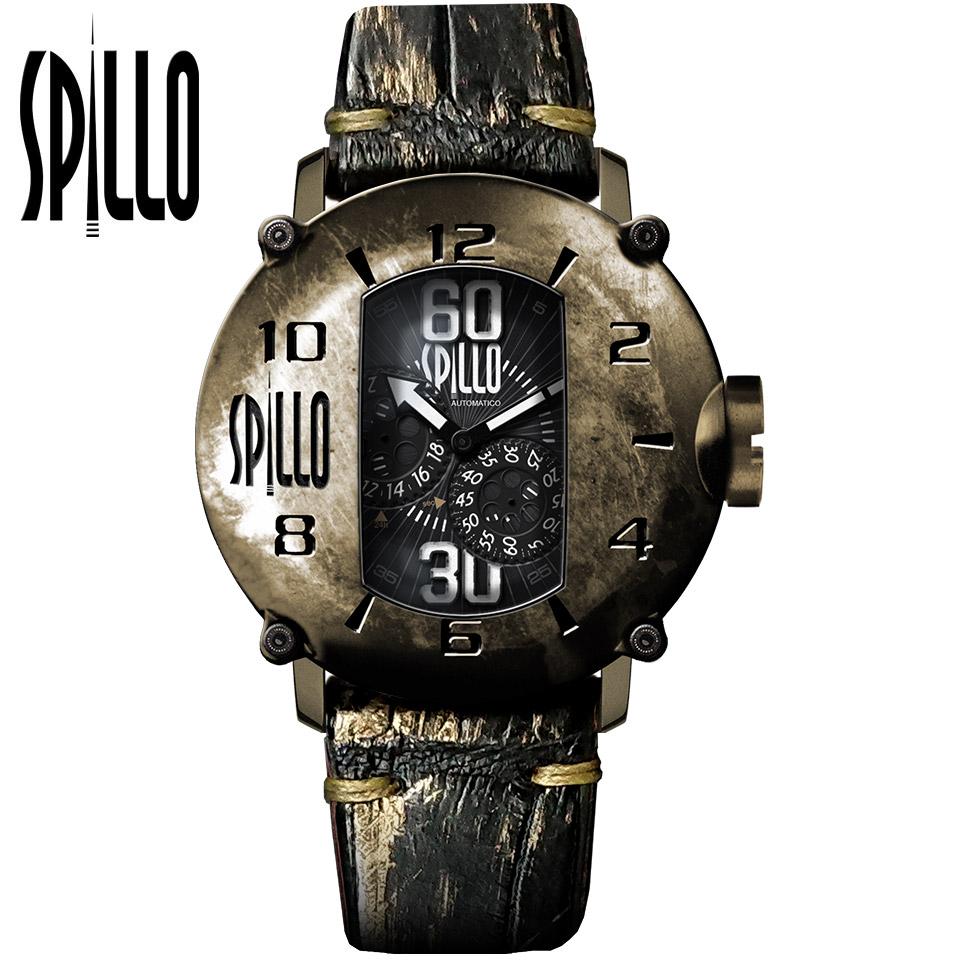 SPILLO(スピーロ)SPEED DEMON SD917KB-16BKGD ブロンズ/ブラック&ゴールド アリゲーターレザー メンズ機械式腕時計