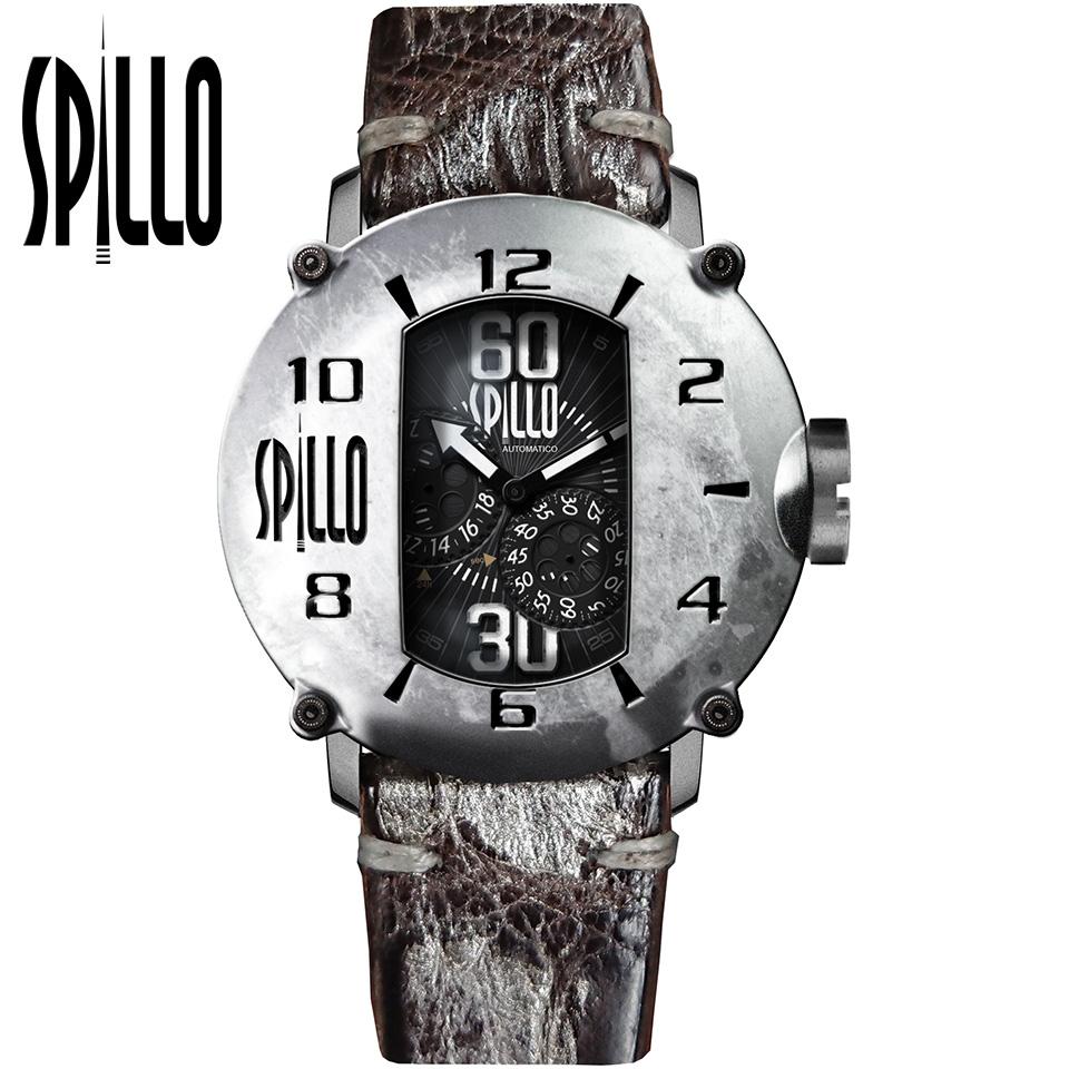 SPILLO(スピーロ)SPEED DEMON SD917KS-01BRSV スティール/ダークブラウン&シルバー アリゲーターレザー メンズ機械式腕時計