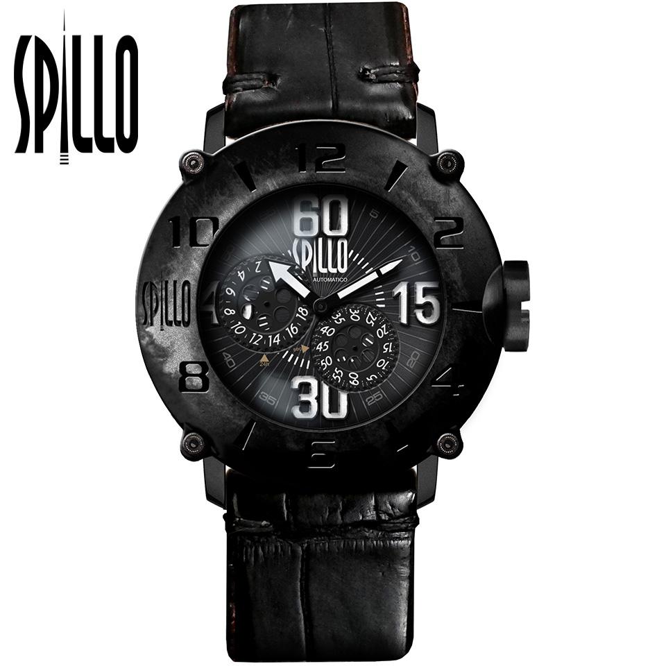 SPILLO(スピーロ)OUTLAW OL917KK-18BLACK マットブラック/ブラック アリゲーターレザー メンズ機械式腕時計