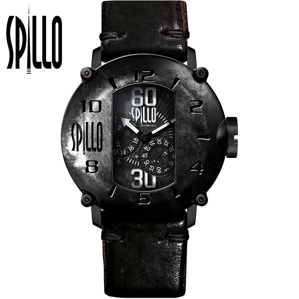 SPILLO(スピーロ)SPEED DEMON SD917KK-02BLACK マットブラック/ブラック ホースレザー メンズ機械式腕時計