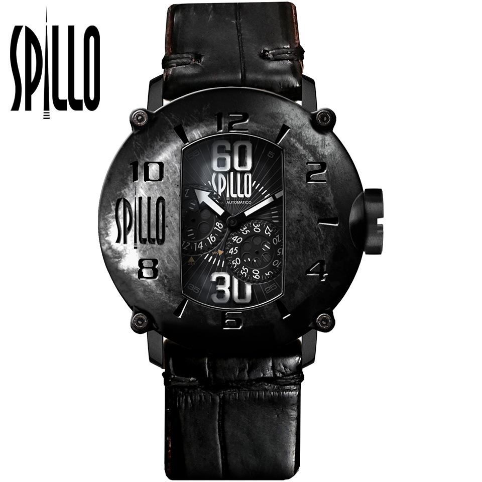 SPILLO(スピーロ)SPEED DEMON SD917KK-18BLACK マットブラック/ブラック アリゲーターレザー メンズ機械式腕時計