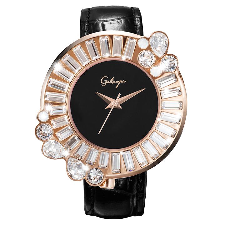 Galtiscopio(ガルティスコピオ) SHINY ROCKING SR1 ブラック/ローズゴールド スワロフスキーが回転するレディース腕時計