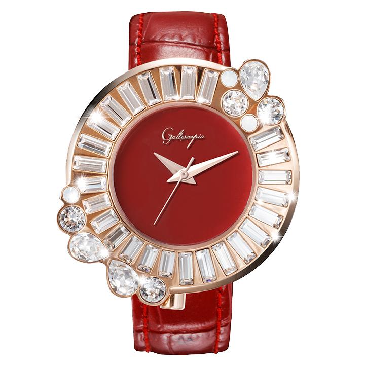 Galtiscopio(ガルティスコピオ) SHINY ROCKING SR2 レッド/ローズゴールド スワロフスキーが回転するレディース腕時計
