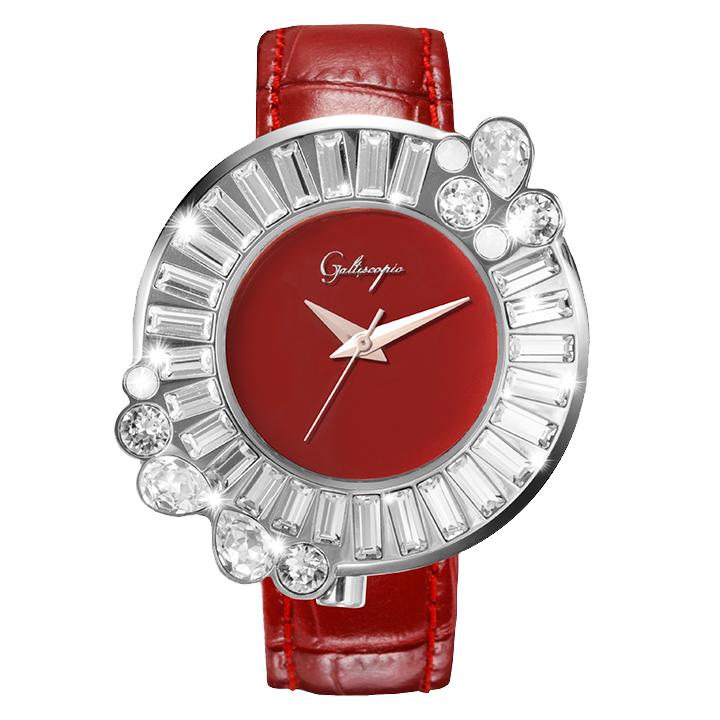 Galtiscopio(ガルティスコピオ) SHINY ROCKING SR5 レッド/シルバー スワロフスキーが回転するレディース腕時計