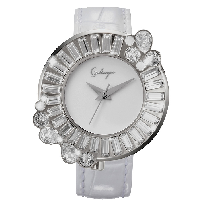 Galtiscopio(ガルティスコピオ) SHINY ROCKING SR6 ホワイト/シルバー スワロフスキーが回転するレディース腕時計