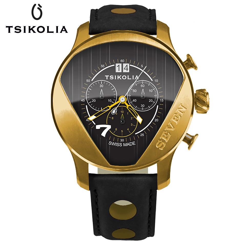 TSIKOLIA(チコリア)SEVEN GOLDEN ゴールド/ブラック クロノグラフ メンズ腕時計 スイス製 ケーターハム スーパーセブン