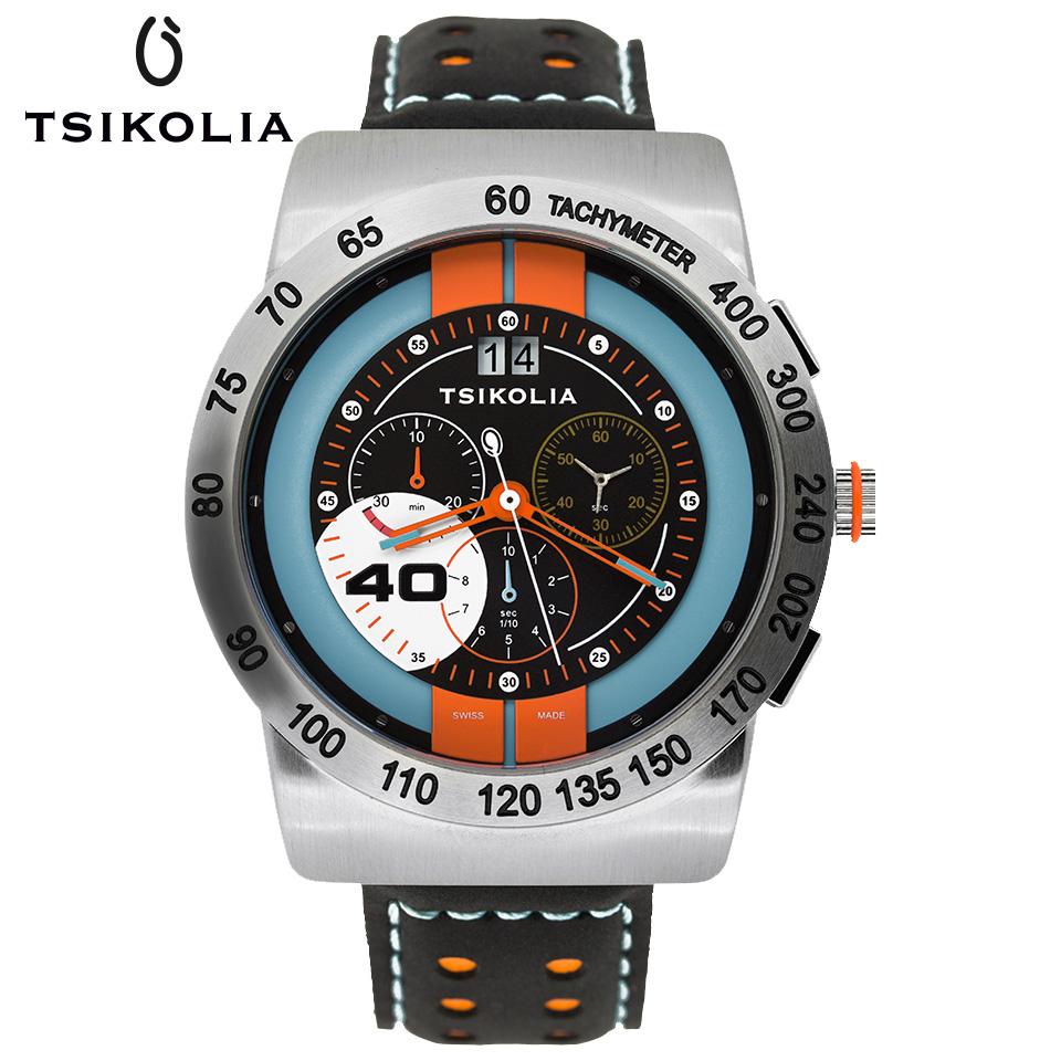 TSIKOLIA(チコリア)GT-40 SS スティール クロノグラフ メンズ腕時計 スイス製 Ford Gulf Racing