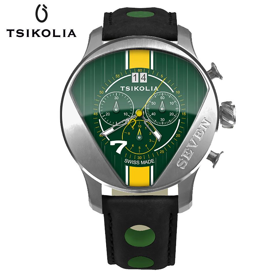 TSIKOLIA(チコリア)SEVEN スティール/グリーン/イエロー クロノグラフ メンズ腕時計 スイス製 ロータス/ケータハムセブン ドライバーズウォッチ