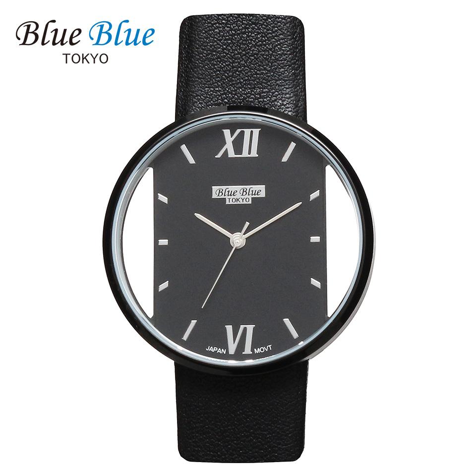 ブルーブルートウキョウ レディース腕時計 BlueBlue TOKYO BR36 ブラック/ブラック ミニマルデザイン ファッションウォッチ ユニセックス 東京ブランド 黒