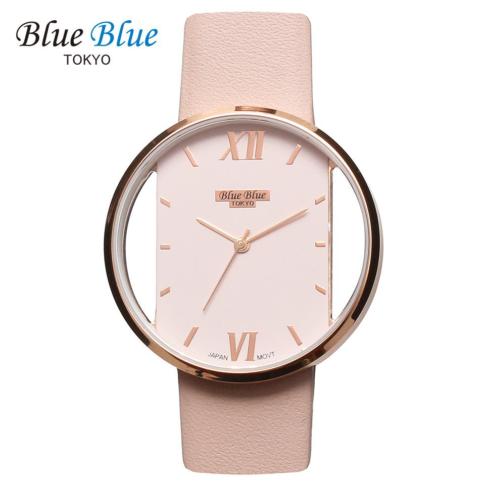 ブルーブルートウキョウ レディース腕時計 BlueBlue TOKYO BR36 ヌーディーピンク/ローズゴールド ミニマルデザイン ファッションウォッチ ユニセックス 東京ブランド ピンクベージュ