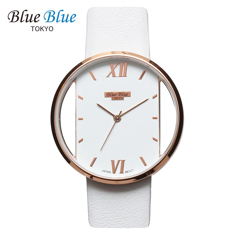 ブルーブルートウキョウ レディース腕時計 BlueBlue TOKYO BR36 ホワイト/ローズゴールド ミニマルデザイン ファッションウォッチ ユニセックス 東京ブランド 白