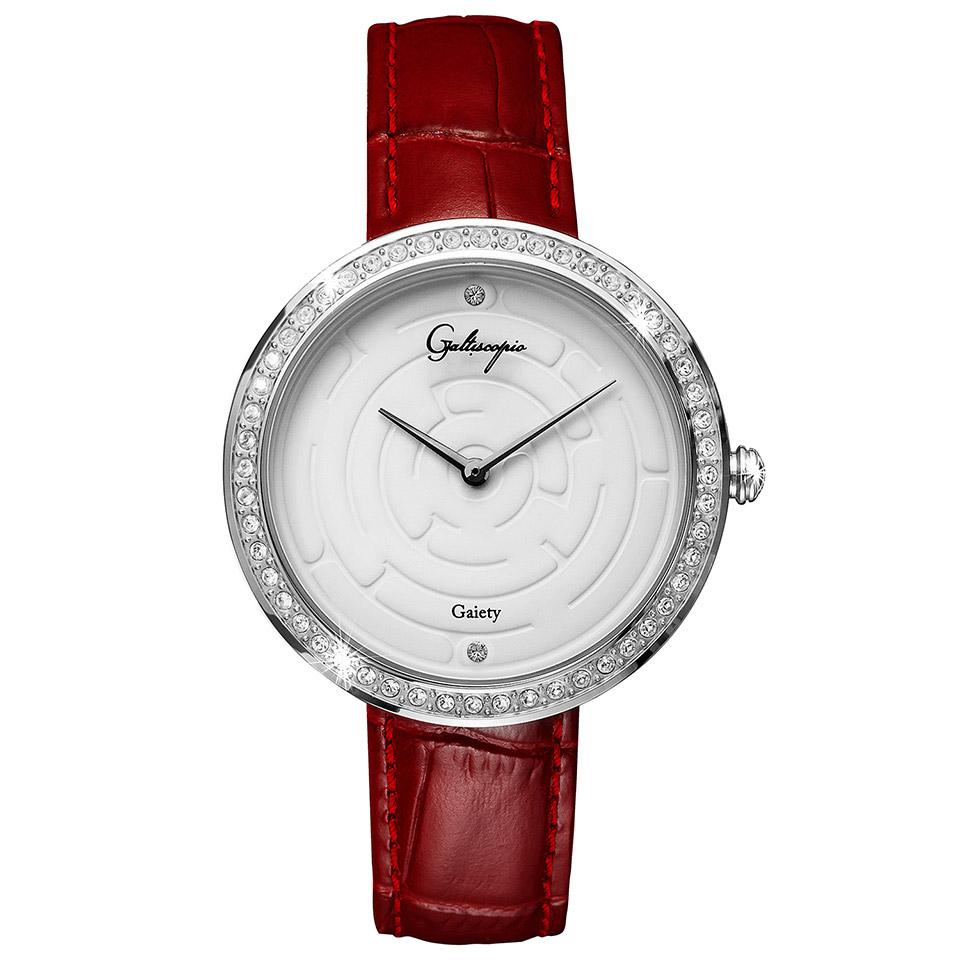 Galtiscopio(ガルティスコピオ) GAIETY GE10 迷路 バーガンディ/ホワイト シンプルエレガントなキラキラ時計 スワロフスキー レディース腕時計