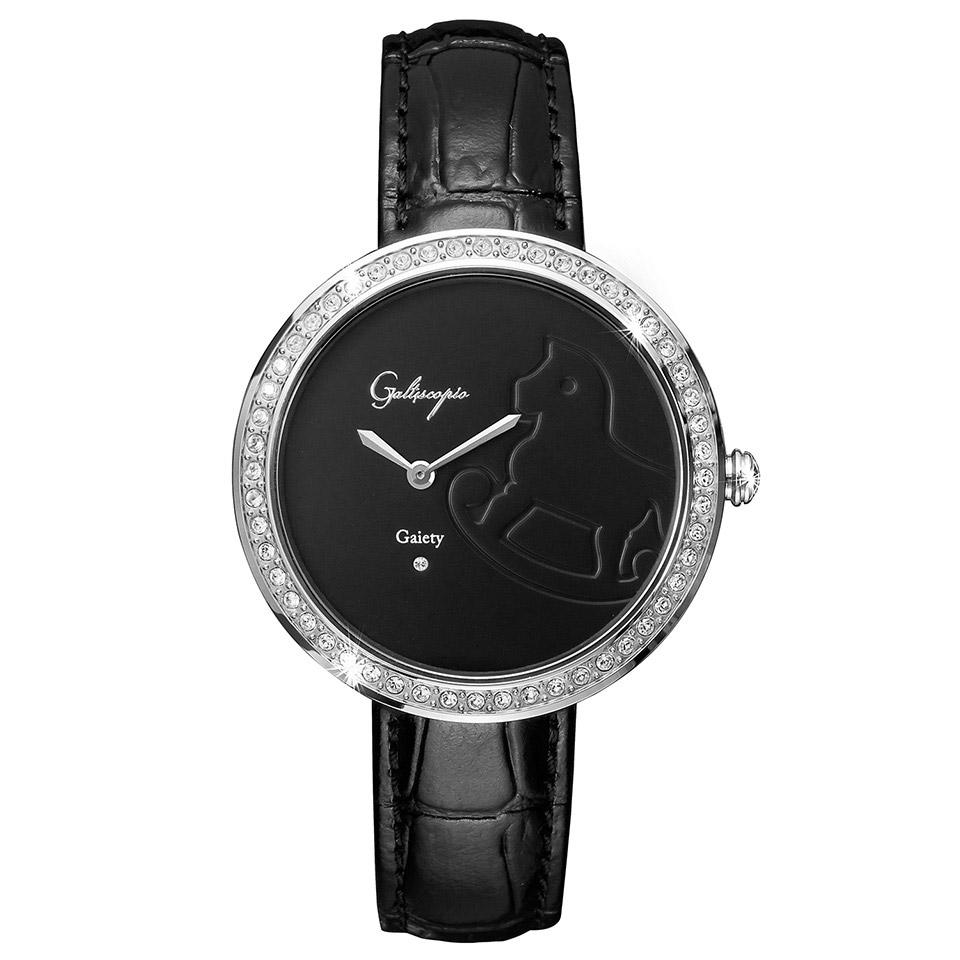 Galtiscopio(ガルティスコピオ) GAIETY GE1 木馬 ブラック/ブラック シンプルエレガントなキラキラ時計 スワロフスキー レディース腕時計