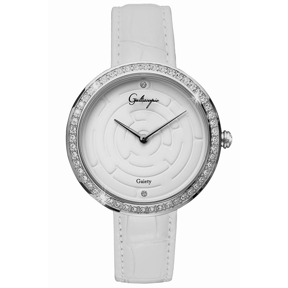 Galtiscopio(ガルティスコピオ) GAIETY GE12 迷路 ホワイト/ホワイト シンプルエレガントなキラキラ時計 スワロフスキー レディース腕時計